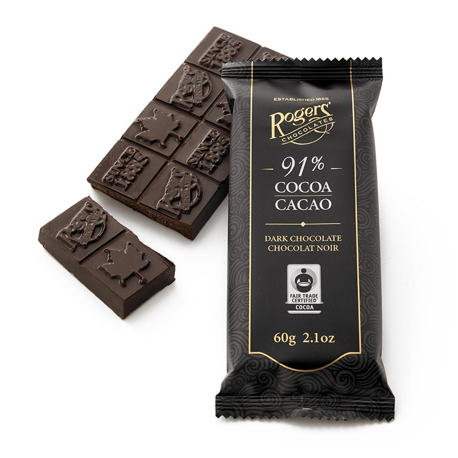 91% Cocoa Dark Chocolate Bar